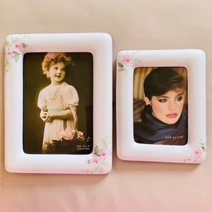 5x7  & 31/2x5 picture Frames, White, Pink Floral